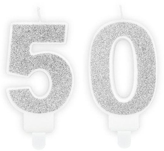 Świeczki 50 srebrne brokat 7cm SCU3-50-018B
