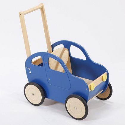 Niebieski samochód - drewniany wózek na zabawki