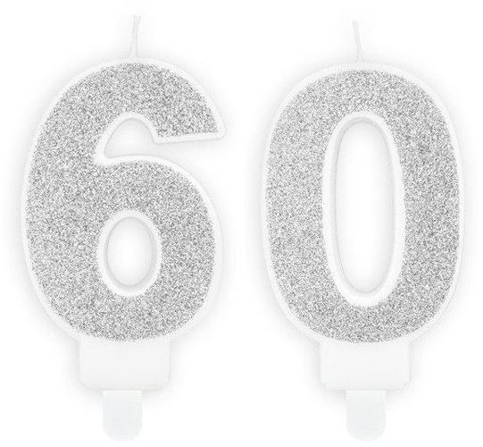 Świeczki 60 srebrne brokat 7cm SCU3-60-018B