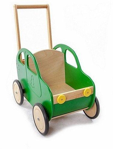 Zielony samochód - drewniany wózek na zabawki