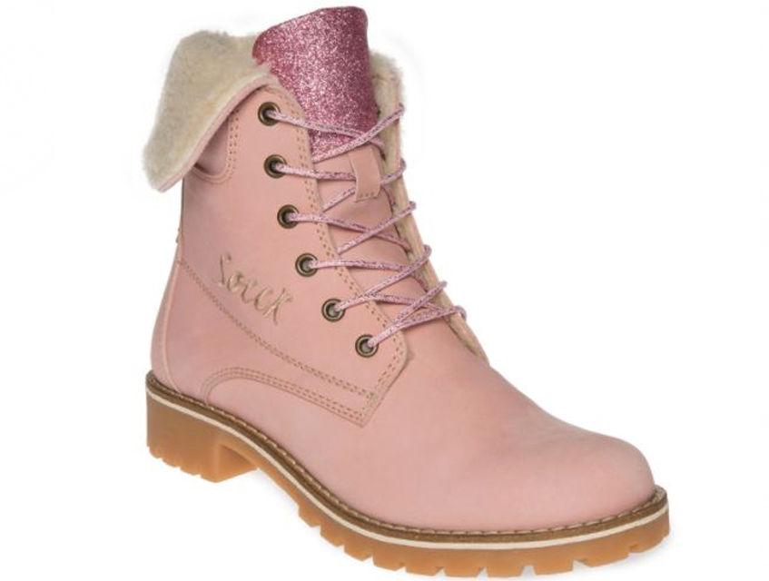 Sznurowane damskie buty SOCCX (różowe) SX17558947PB