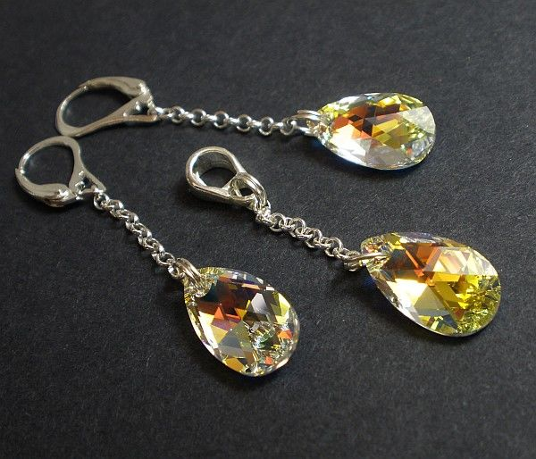 SWAROVSKI piękny komplet SREBRO kryształy AURORA