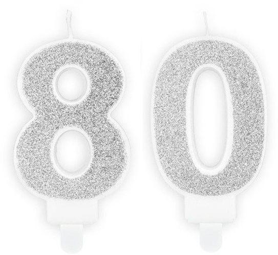 Świeczki 80 srebrne brokat 7cm SCU3-80-018B