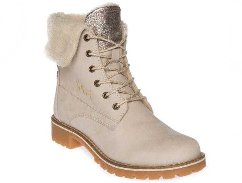 Sznurowane damskie buty SOCCX (beżowe) SX17558947CB