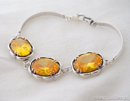 Słońce - srebrna bransoletka z cytrynem złocistym