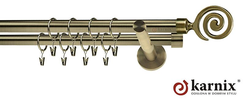 Karnisze nowoczesne NEO podwójny 19/19mm Cento antyk mosiądz