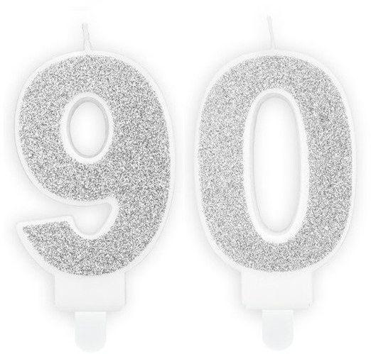Świeczki 90 srebrne brokat 7cm SCU3-90-018B
