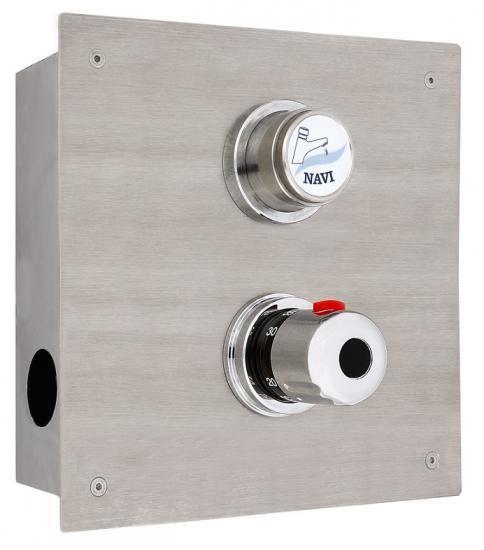 """Bateria natrysk.czasowa podtynkowa z termostatem 75x225x(H)225mm prrzyłącza półśrubunki 1/2"""""""