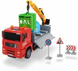 Dickie Toys 203744003 Heavy City Truck, Man ciężarówka do zabawek z frykcją, w zestawie akcesoria, ruchome części, 20 cm, 4 różne wersje od 3 lat