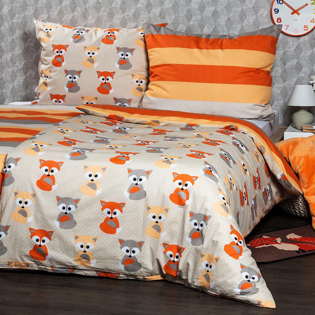 4Home Pościel bawełniana Little Fox, 220 x 200 cm, 2 szt. 70 x 90 cm, 220 x 200 cm, 2 szt. 70 x 90 cm