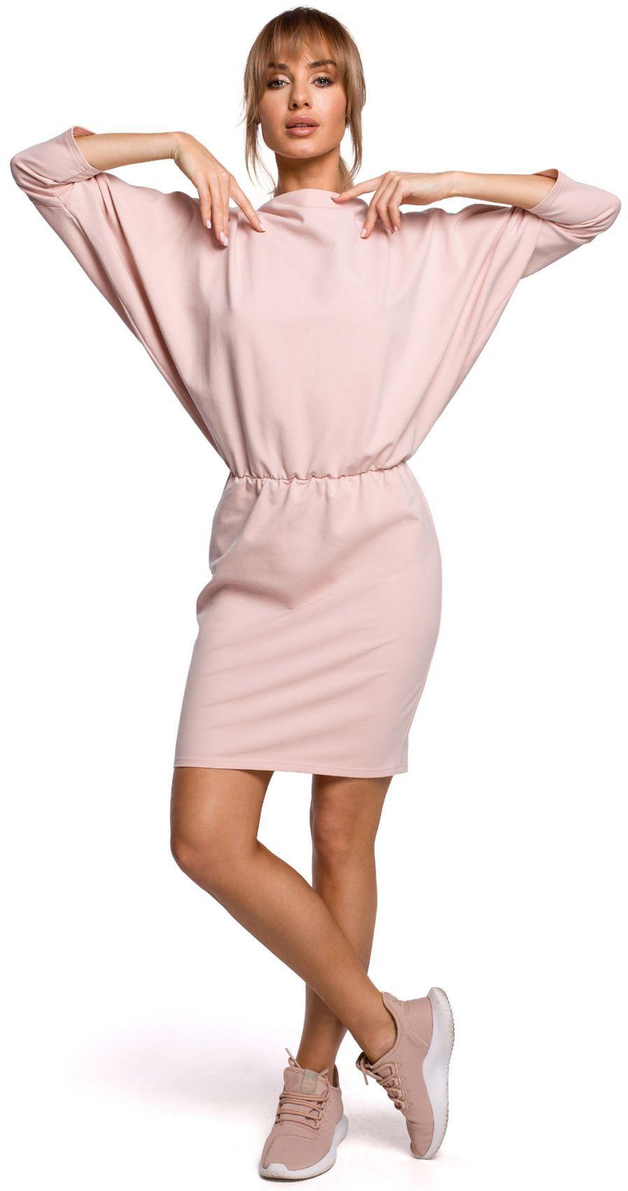 M495 Sukienka mini z lampasem do regulacji z tyłu - cukierkowo różowa
