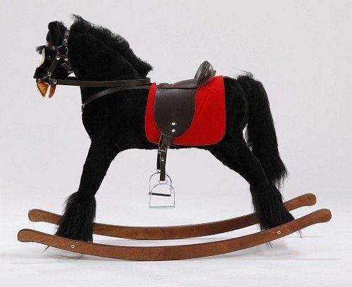 Duży, czarny koń na biegunach XL