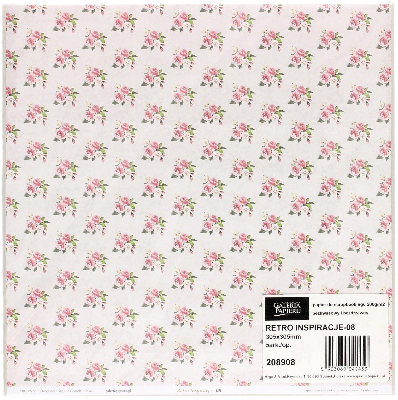 Galeria Papieru Papier scrapbookingowy Retro Inspiracje 08 30,5x30,5 opakowanie 5 ark 208908