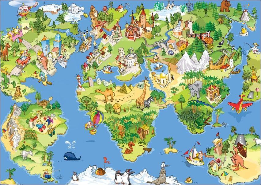 Mapa świata dla dziecka - plakat wymiar do wyboru: 40x30 cm