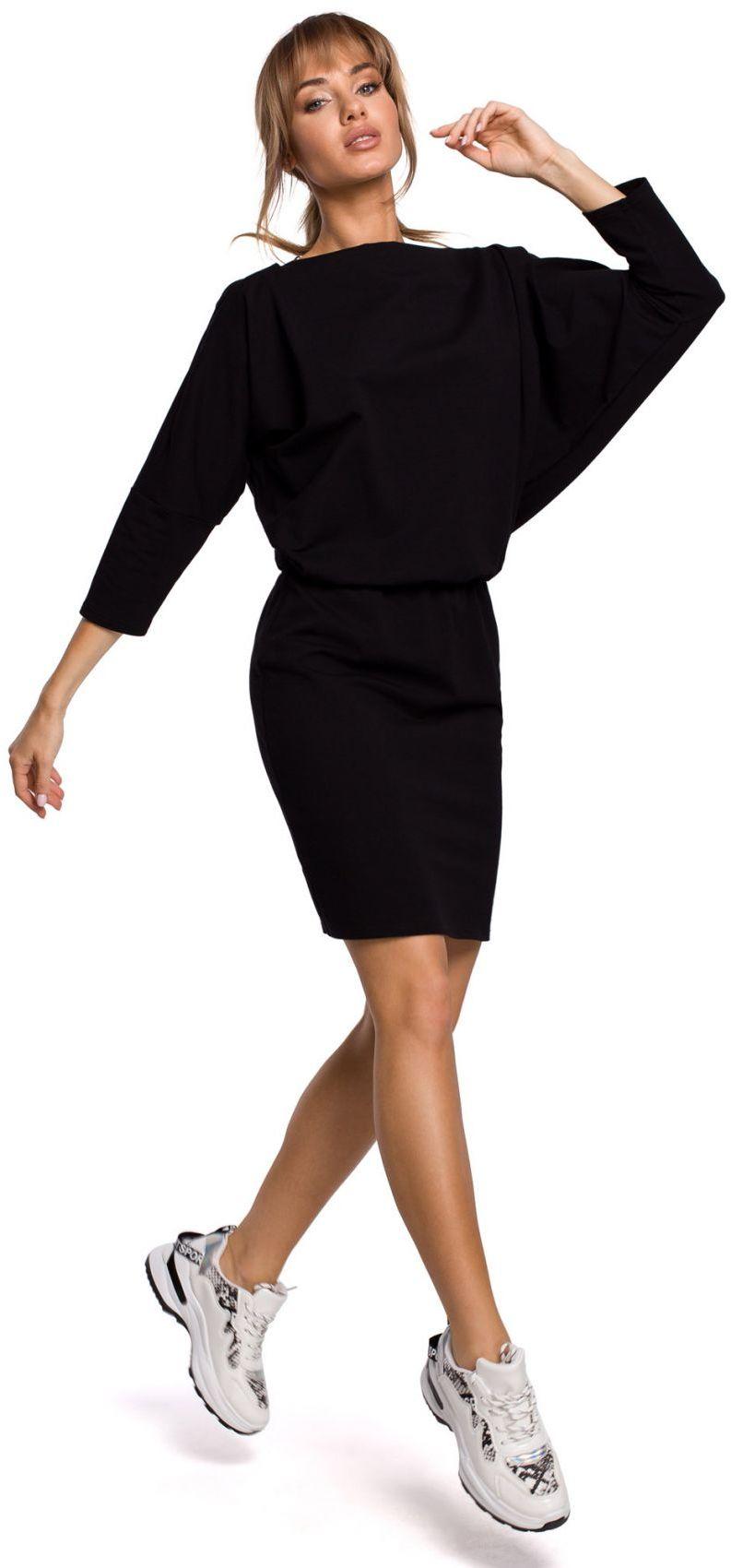 M495 Sukienka mini z lampasem do regulacji z tyłu - czarna