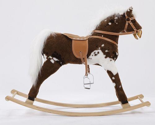 Duży, brązowy koń na biegunach XL w białe plamy