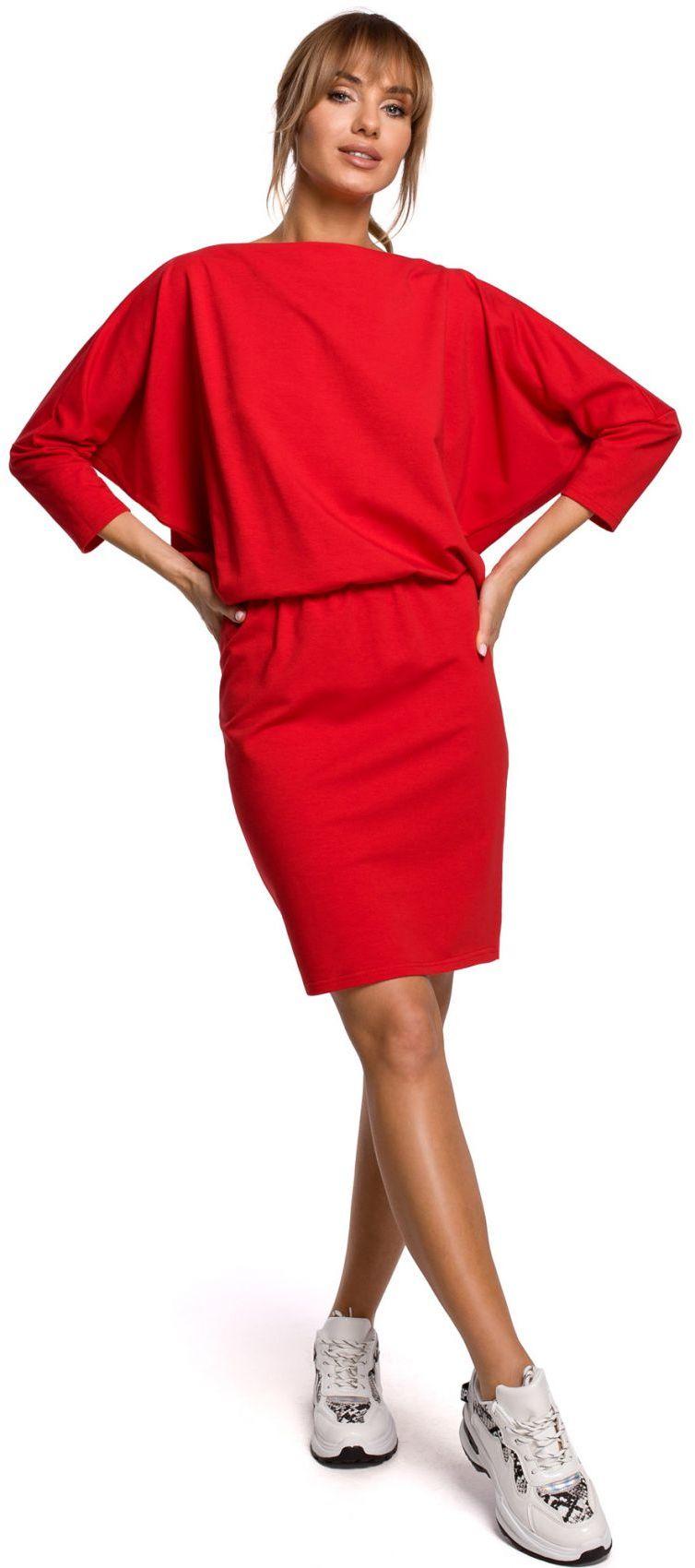 M495 Sukienka mini z lampasem do regulacji z tyłu - czerwona