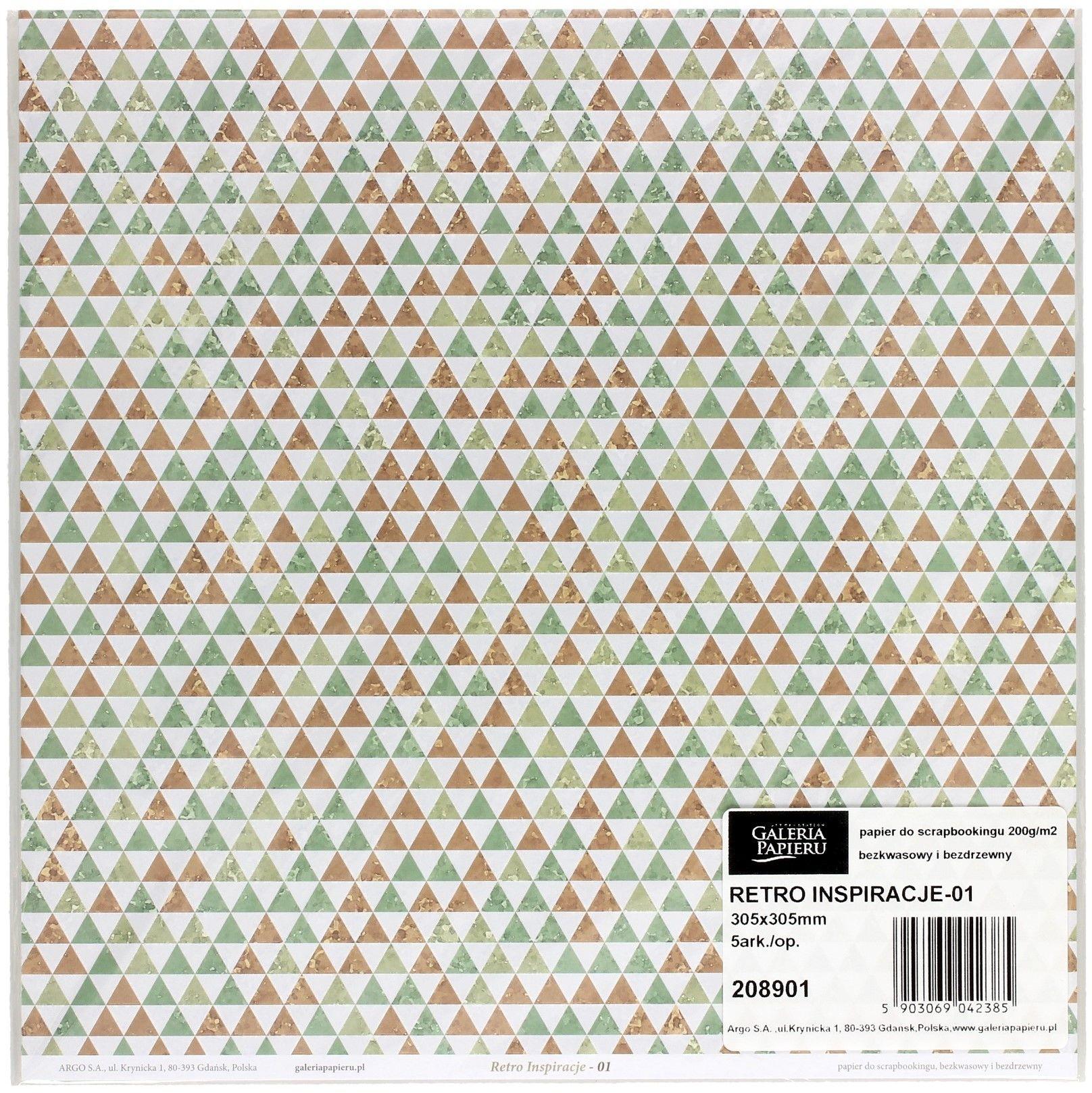 Galeria Papieru Papier scrapbookingowy Retro Inspiracje 01 30,5x30,5 opakowanie 5 ark 208901