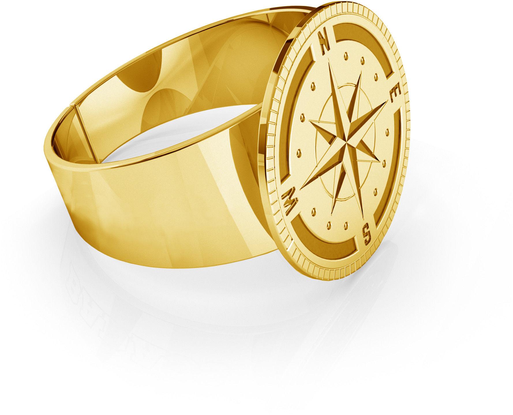 Męski sygnet róża wiatrów, grawer, srebro 925 : Srebro - kolor pokrycia - Pokrycie żółtym 18K złotem