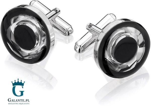 Srebrne spinki do mankietów z węglem i kryształem swarovskiego smw-010