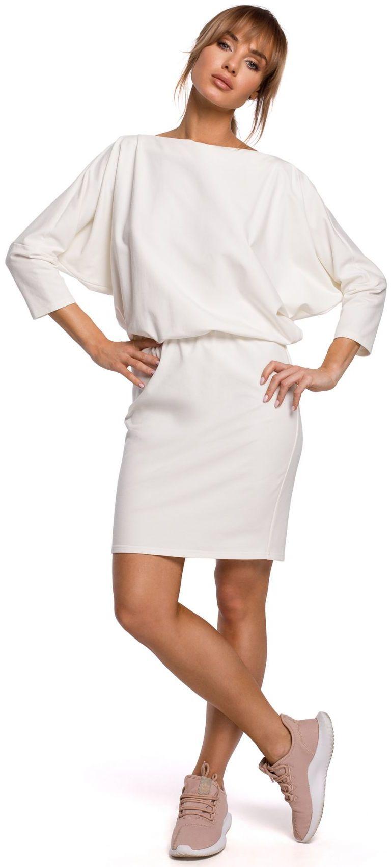 M495 Sukienka mini z lampasem do regulacji z tyłu - ecru