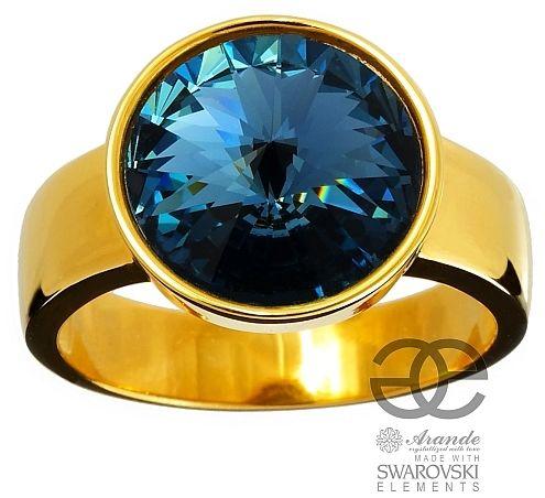 SWAROVSKI pierścionek DENIM BLUE ZŁOTE SREBRO
