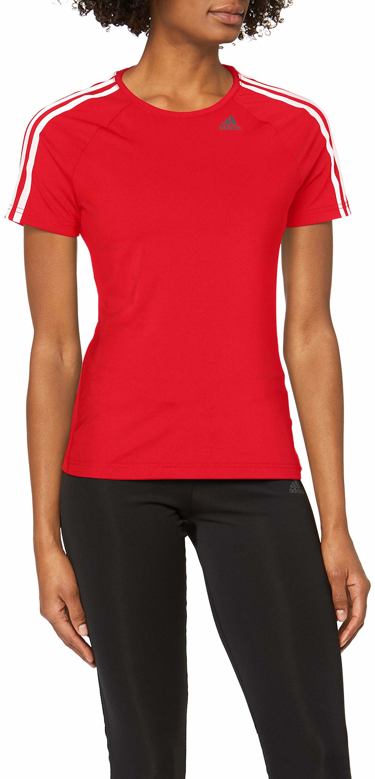 adidas Damska koszulka D2M 3-Streifen, Core Red, S