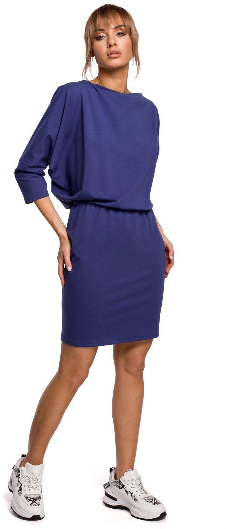M495 Sukienka mini z lampasem do regulacji z tyłu - indygo