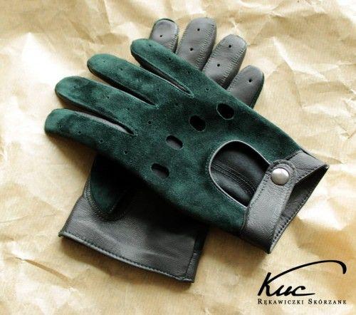 Rękawiczki samochodowe czarno zielone, brytyjska zieleń wyścigowa - British Racing Green
