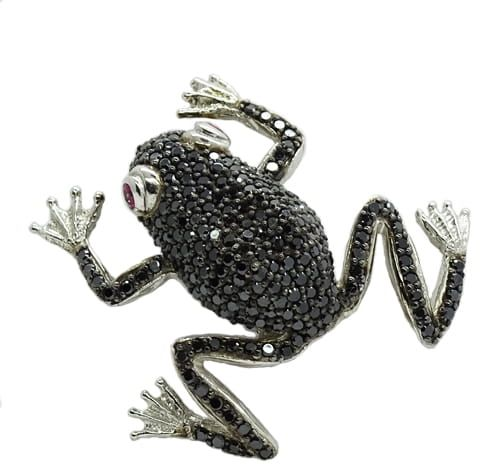 FELIX Srebrna broszka czarne cyrkonie żaba na szczęście