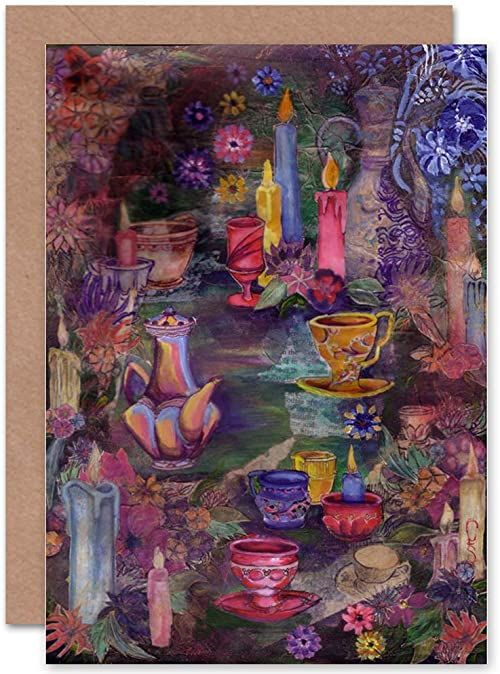 Wee Blue Coo Kartka z życzeniami z motywem kwiatów, świeczek i herbaciarek od CLAIRE SAUNDERS