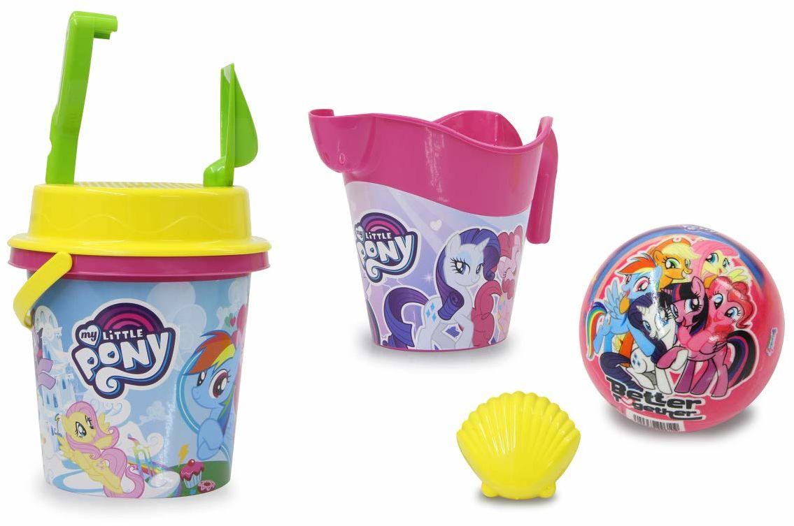 My Little Pony zestaw wiaderek na piasek z konewką, 7-częściowy  oficjalnie licencjonowany  wiadro, szufelka, grabie ręczne, foremki, konewka, piłka, sitko do piasku