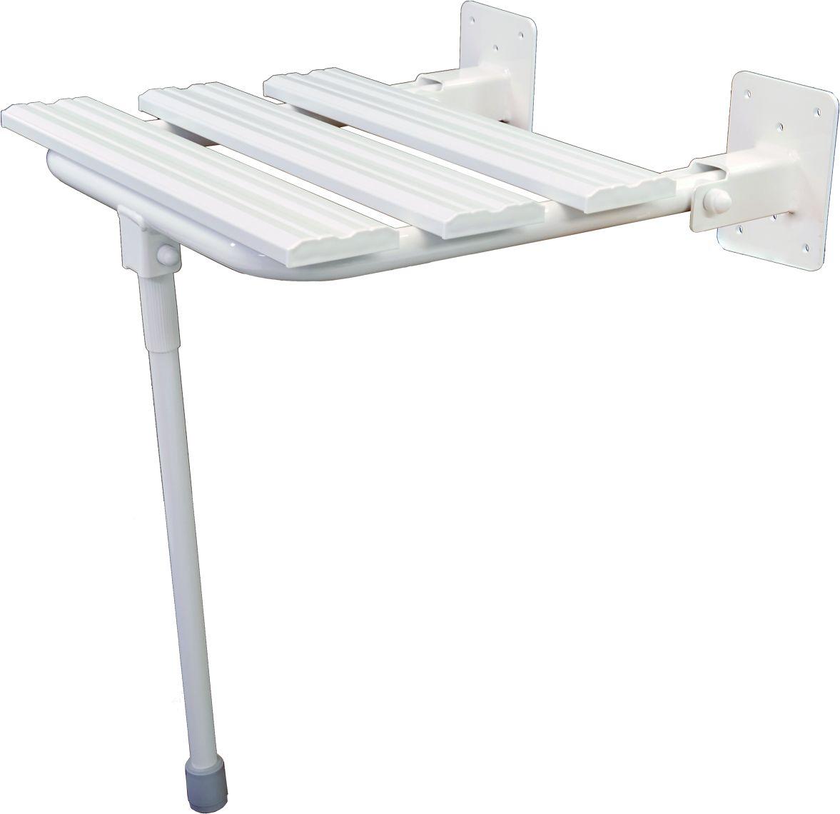 Siedzisko pod prysznic składane z nogą fi 25 Faneco stal biała