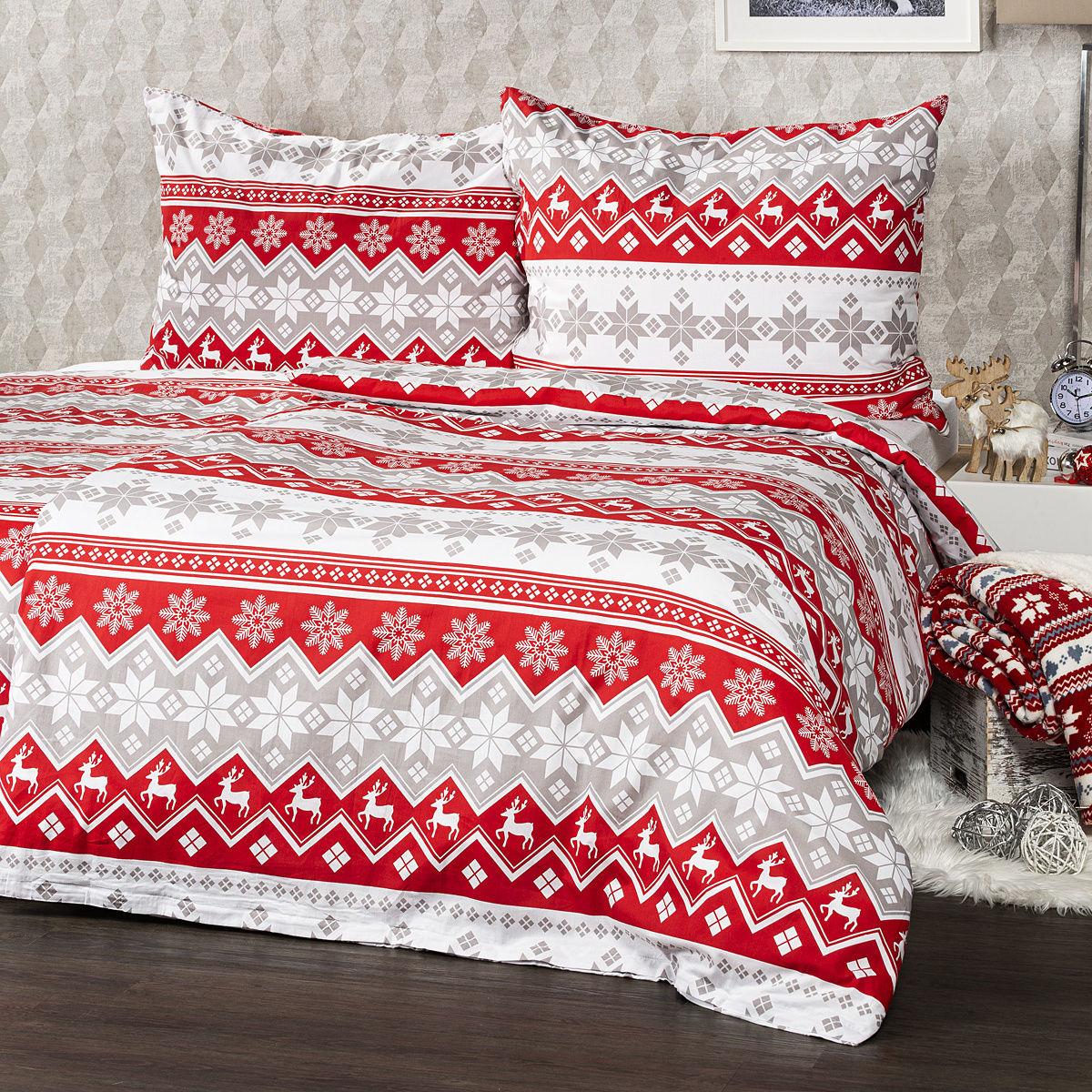 4Home Pościel bawełniana Red Nordic, 140 x 220 cm, 70 x 90 cm