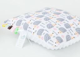 MAMO-TATO Poduszka Minky dwustronna 40x40 Jeżyki szare / biały