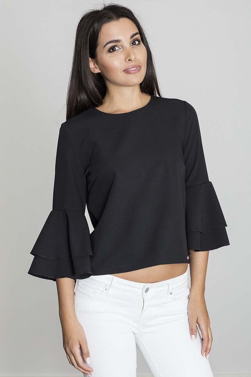 Czarna krótka bluzka z rozkloszowanymi rękawami