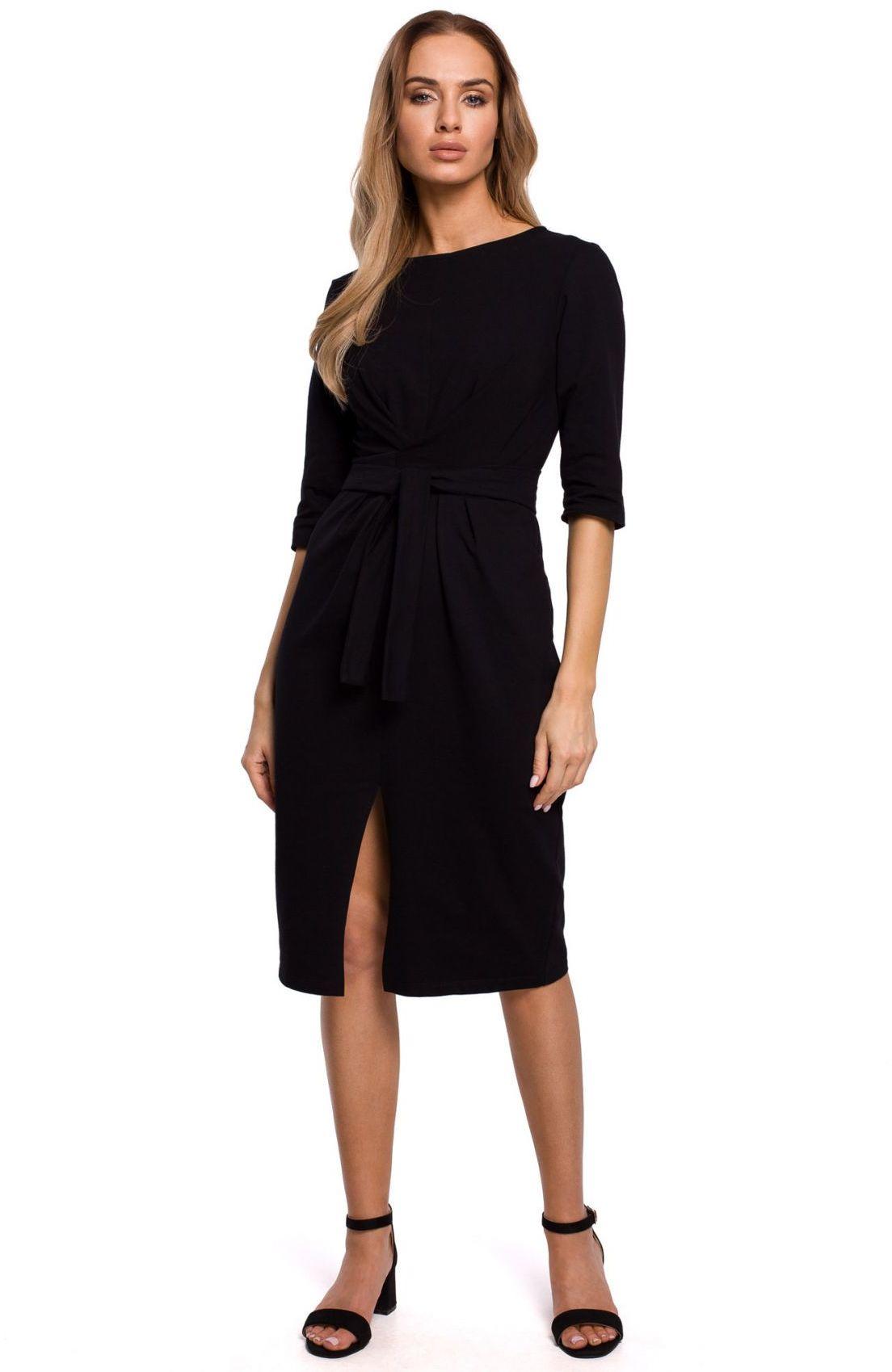 M496 Sukienka z efektownym wiązaniem - czarna