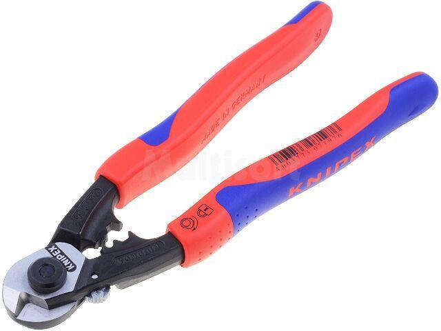 Nożyce KNIPEX do kabli, do lin stalowych, twardość ostrza ok.64 HRc