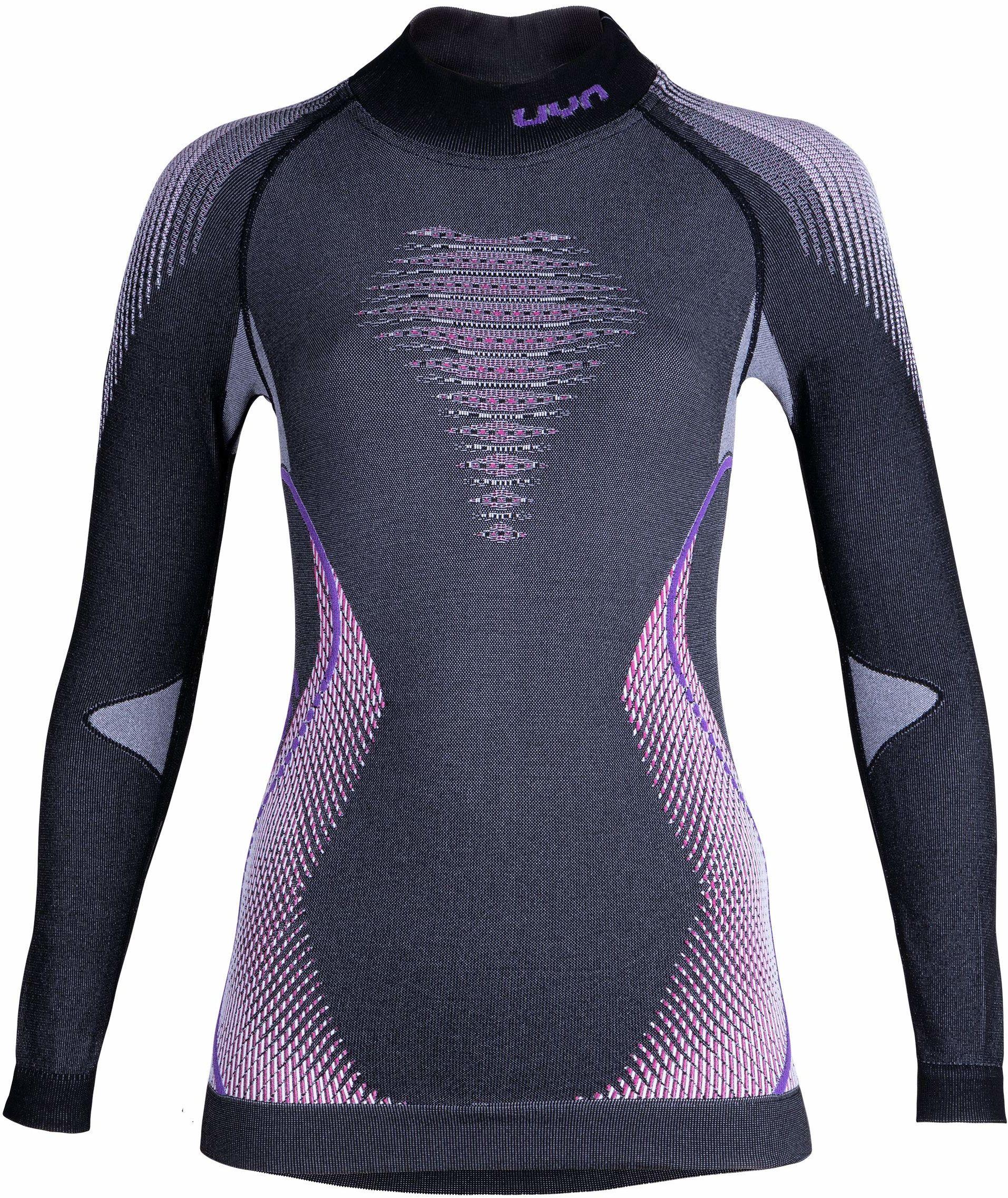 UYN damska koszulka z długim rękawem Evolutyon Uw z długim rękawem Turtle Neck melanż szary Anthracite Melange/Raspberry/Purple L-XL