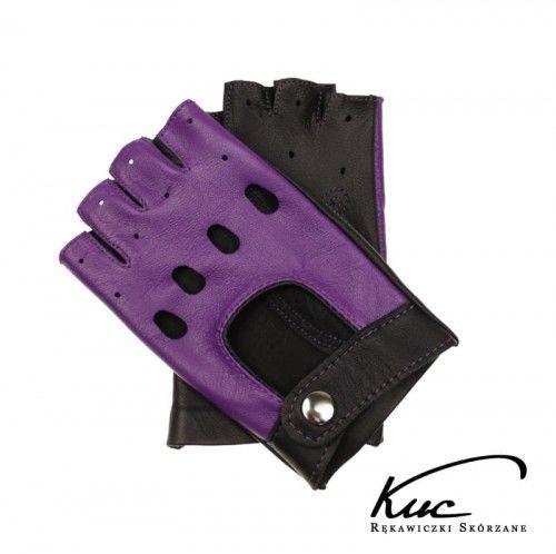 Fioletowe rękawiczki skórzane - bez palców