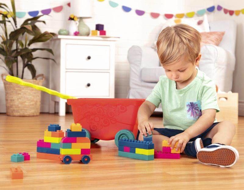Wózek Little BlocWagon z kolorowymi klockami BX1991Z- B.Toys, klocki dla dzieci