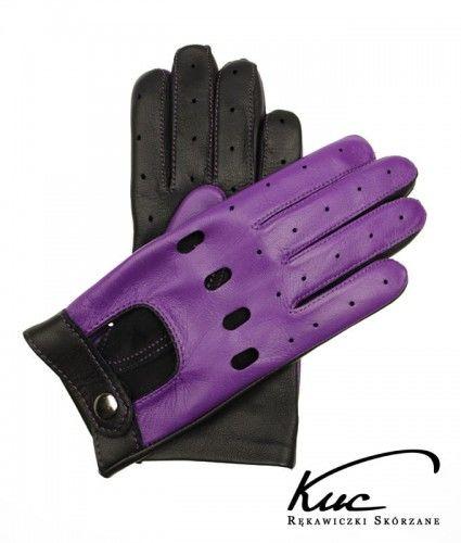 Fioletowe rękawiczki skórzane - całuski