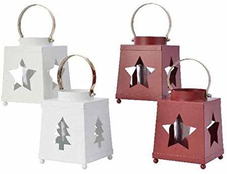 Kaemingk 8718533307030 świecznik na podgrzewacze z żelaza czerwony/biały Boże Narodzenie świece i kadzidełka, wielokolorowy