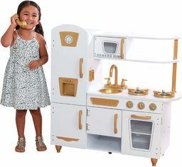 KidKraft 53445 Nowoczesna biała kuchnia do odgrywania ról ze złotymi akcentami i 27-częściowym zestawem akcesoriów kuchennych