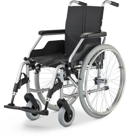 Wózek inwalidzki aluminiowo-stalowy z ramą krzyżakową - tekstylna tapicerka, regulowany podnóżek + hamulce dla opiekuna (Meyra FORMAT 3.940)