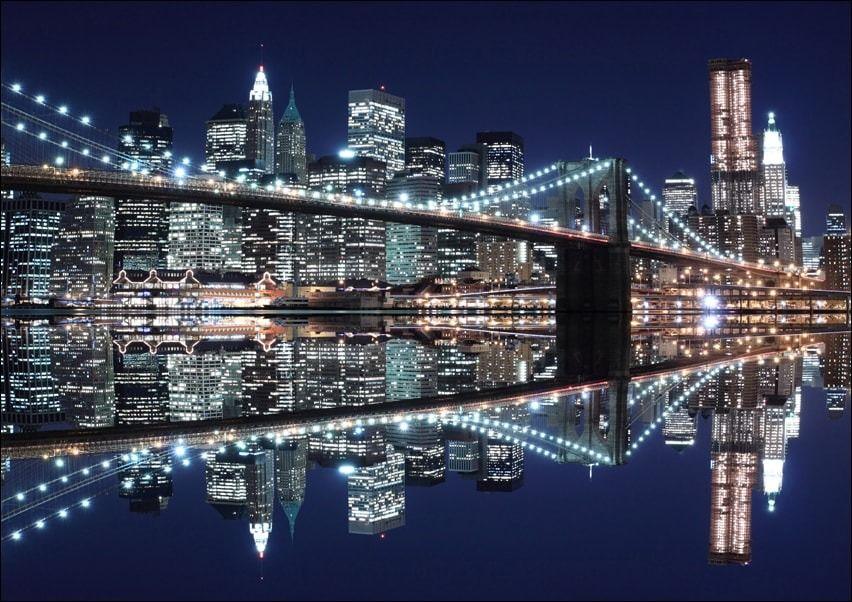 New york brooklyn bridge night - plakat wymiar do wyboru: 59,4x42 cm