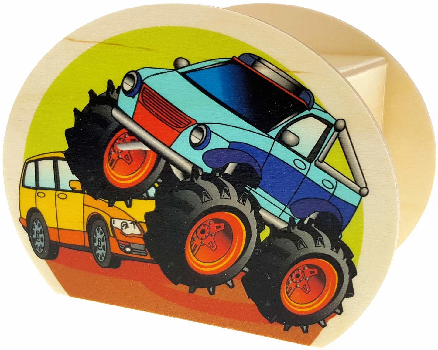 Hess drewniana zabawka 15220  skarbonka z drewna, z kluczem, potworki, prezent dla dzieci na urodziny, ok. 11,5 x 8,5 x 6,5 cm