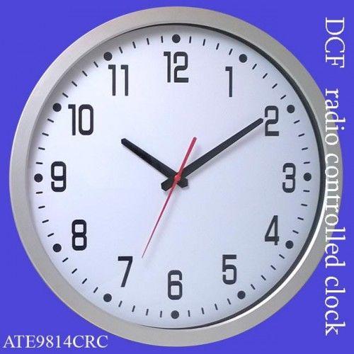 Zegar srebrny 350mm sterowany radiowo