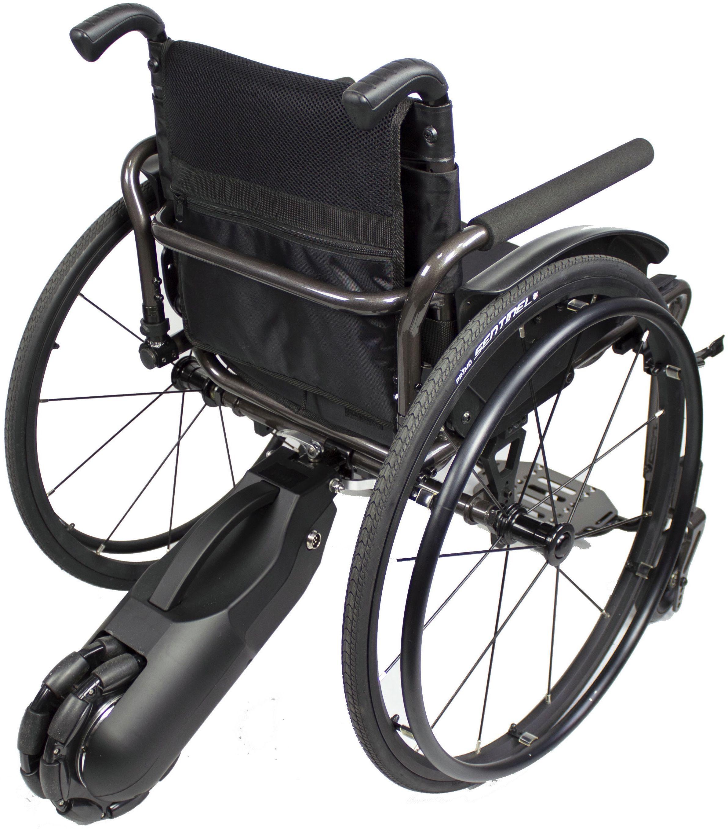 Dostawka elektryczna do wózka inwalidzkiego aktywnego - lekka o kompaktowych rozmiarach - napęd tylny wspomagający poruszanie wózkiem (Vitea Care WAY