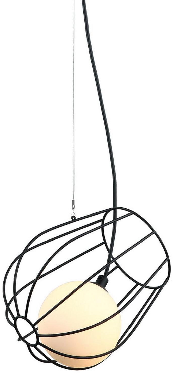 Italux lampa wisząca Melisa MDM-3942/1 BK czarna druciana z szklanym kloszem 16,5cm